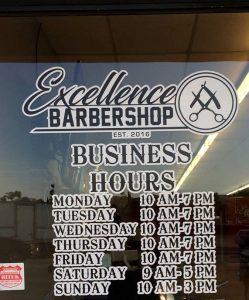 business hours of operation door vinyl